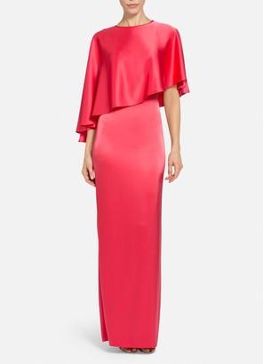St. John Lightweight Liquid Satin Cape Dress