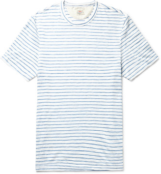 Faherty Striped Slub Melange Cotton-Blend Jersey T-Shirt