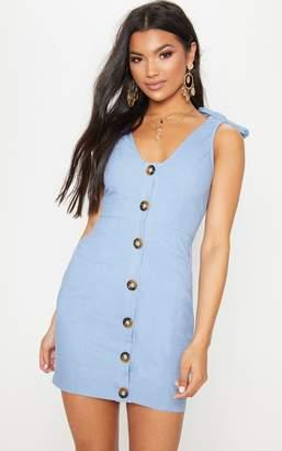 PrettyLittleThing Blue Button Up Tie Strap Detail Shift Dress
