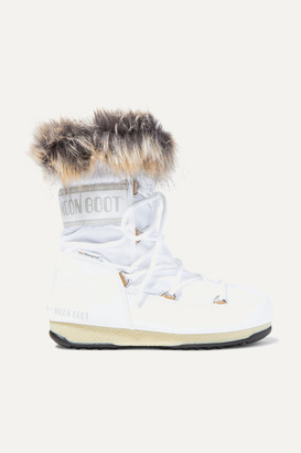 Moon Boot Monaco Faux Fur-trimmed Shell And Faux Leather Snow Boots - White