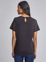 Dorothy Perkins Petite Black Lace T-shirt - Black
