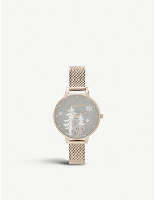 Olivia Burton OB16AW01 Winter Wonderland rose gold-plated stainless steel watch