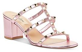 Valentino Women's Rockstud Block Heel Slide Sandals
