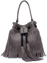 Mn&Sue Retro Casual Pu Leather Fringe Tassel Cross Body Slouchy Hobo Drawstring Shoulder Bucket Women Bag