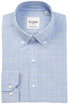 Ben Sherman Blue Slub Check Tailored Slim Fit Dress Shirt