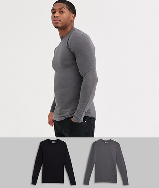 Asos Design DESIGN 2 pack muscle fit long sleeve t-shirt with crew neck save-Multi
