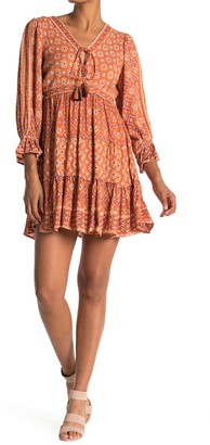 Angie V-Neck Patterned Tiered Dress