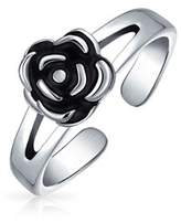 Bling Jewelry 925 Silver Flower Midi Ring Adjustable Rose Toe Rings.