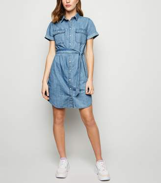 New Look Bright Short Sleeve Denim Shirt Dress