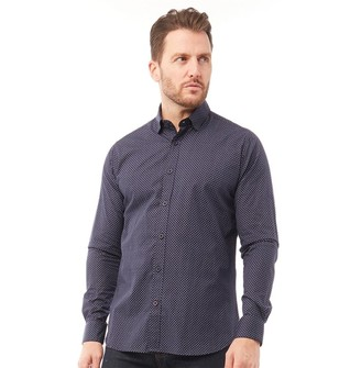 Onfire Mens Printed Long Sleeve Shirt Navy
