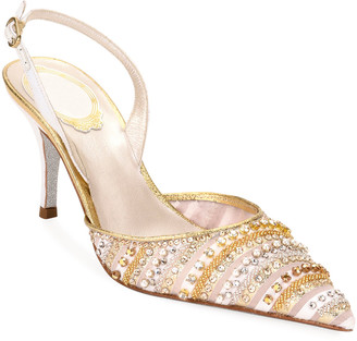 Rene Caovilla Beaded Cocktail Slingback Pumps