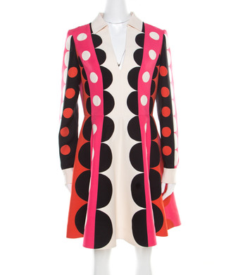 Valentino Multicolor Geometric Pattern Wool and Silk Long Sleeve Plunge Neck Dress M