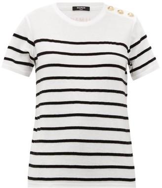 Balmain Flocked-stripe Cotton-jersey T-shirt - Womens - White Black