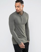 Asos Extreme Muscle Long Sleeve Polo In Khaki