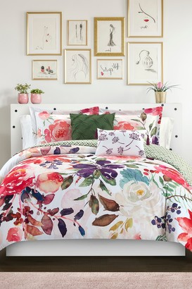 Twin Phillie Watercolor Floral Print With Geometric Leaf Pattern On The Reverse Comforter 4-Piece Set - Multi Color