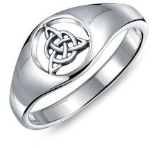 Bling Jewelry Celtic Trinity Knot Triquetra Ring Signet Ring 925 Sterling Silver