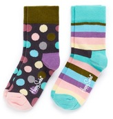 Happy Socks Stripe and polka dot kids socks 2-pair pack