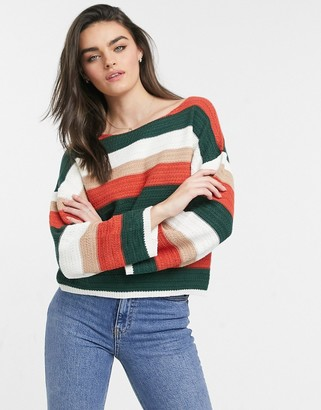 NATIVE YOUTH crochet striped sweater