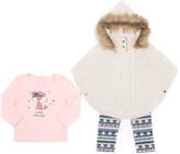 Little Lass Ivory & Tan Faux Fur Poncho Set - Infant, Toddler & Girls