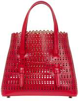 Alaia Mini Open Circle Weave Tote - Red