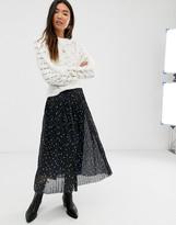 Levete Room mesh polka dot pleated midi skirt