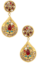 Amrapali Yellow Gold & Navratna Stone Teardrop Earrings