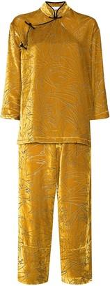 Olivia von Halle Leaf Pattern Pajama Set