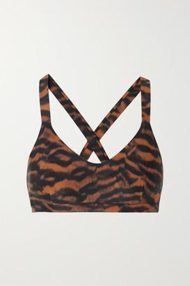 The Upside Sophie Tiger-print Stretch Sports Bra - Orange