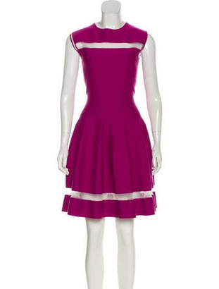 Giambattista Valli Mesh-Trimmed Knit Dress Magenta