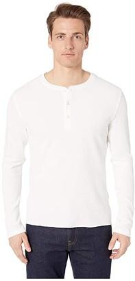 Billy Reid Mini Waffle Henley (White) Men's Clothing