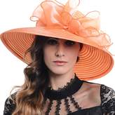 FORBUSITE Women Organza Floral Wide Brim Church Kentucky Derby Sun Hat S052
