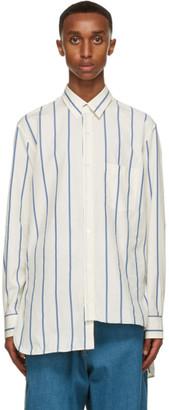Lanvin Off-White and Blue Asymmetric Shirt