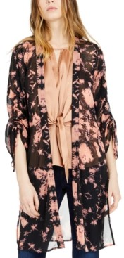 INC International Concepts Inc Tie-Dyed Ruched-Sleeve Kimono Top, Created for Macy's