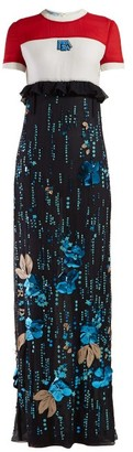 Prada Sequinned Silk-chiffon Gown - Womens - Blue Multi