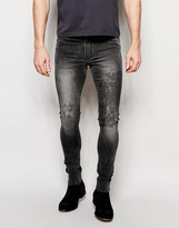 Asos Extreme Super Skinny Jeans With Acid Wash In Gray