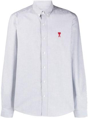 AMI Paris Stripe Embroidered Logo Shirt