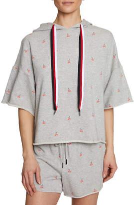 Betsey Johnson Cherry-Print Raw-Edge Hooded Crop Sweatshirt