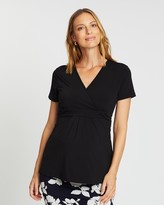 Angel Maternity Maternity Crossover Short Sleeve V-Neck Work Top