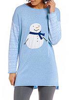 Sleep Sense Intarsia Snowman & Fair Isle Sweater-Knit Lounge Top