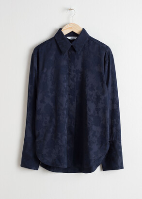 And other stories Floral Jacquard Button Up