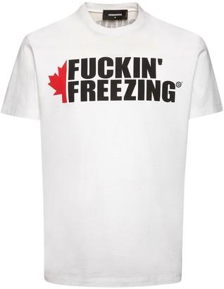 DSQUARED2 Freezing Print Cotton Jersey T-Shirt