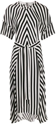 Stella McCartney Striped Step-Hem Midi Dress