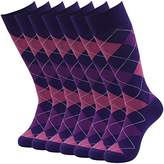 SUTTOS Mens Adult Casual Crazy Fun Purple Argyle Dobby Design Groomsmen Wedding Mid Calf Long Tube Crew Dress Socks,7 Pairs