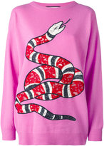 Gucci kingsnake appliqué jumper - women - Cashmere/Wool - XS