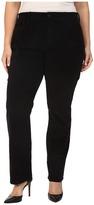 NYDJ Plus Size Plus Size Marilyn Straight Jeans in Corduroy in Black
