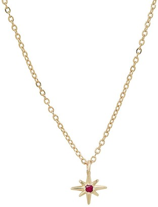 """Elliot Young Fine Jewelry Celestial"""" 14K Gold Tiny North Star Necklace With Ruby"""