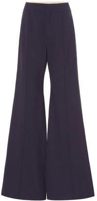 Chloé Stretch-wool high-rise flared pants