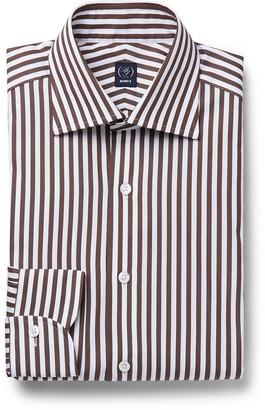 Beams Brown Slim-Fit Striped Cotton-Poplin Shirt - Men - Brown