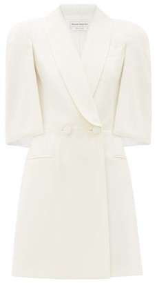 Alexander McQueen Cape-sleeve Double-breasted Wool-blend Mini Dress - Womens - Ivory