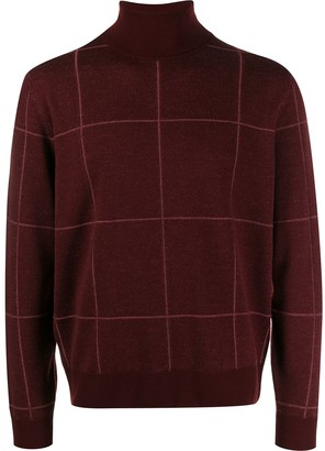 Canali Checked Roll-Neck Jumper